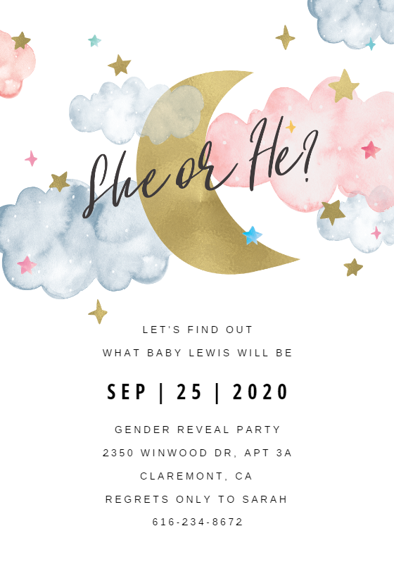 Over The Moon Gender Reveal Invitation Template Greetings Island Gender Reveal Invitations Printable Gender Reveal Invitations Template Baby Gender Reveal Party