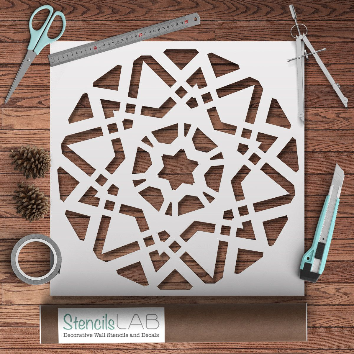 Geometric mandala stencil kaati pinterest mandala stencils geometric mandala stencil stencil for decor projects wall stencil amipublicfo Images