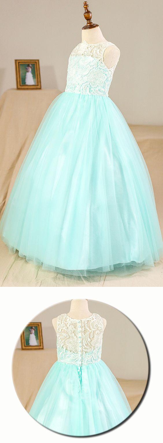 Ball Gown Floor-length Flower Girl Dress - Tulle/Lace Sleeveless ...