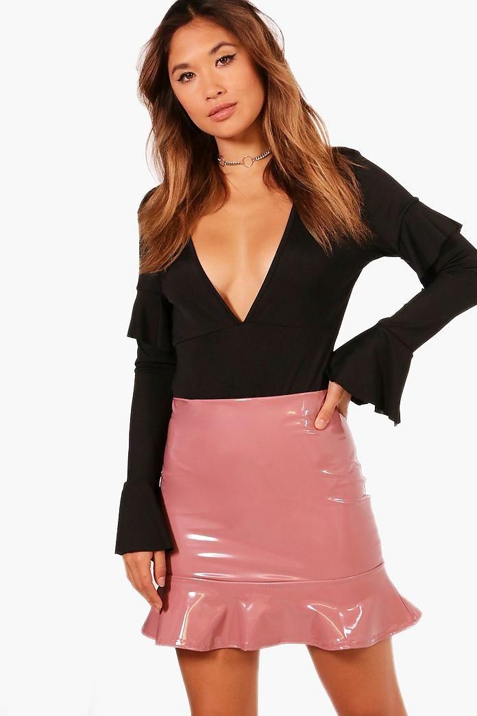 ec7e38d933ea Drop Peplum Vinyl Mini Skirt | Wardrobe