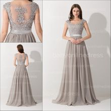 2015 New Arrival Formal Grey A Line Cap Sleeves Chiffon Long Evening Dresses To Party Beaded Lace Top Vestido De Festa(China (Mainland))