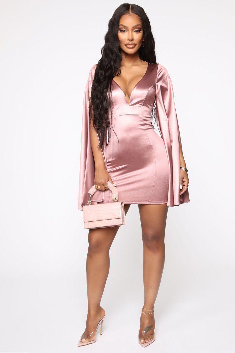 Simple Request Satin Mini Dress Rose Gold Satin mini