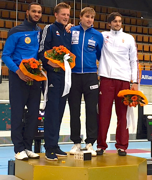52° Tissot World Cup Podium: Gold Bas VERWIJLEN (NED), Silver Daniel JERENT (FRA), Bronze Nikolai NOVOSJOLOV (EST) and Peter SOMFAI (HUN)