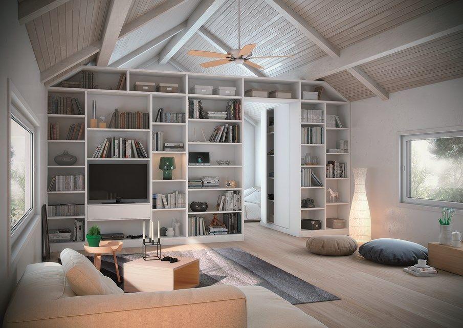 biblioth que con ue comme une s paration de pi ce entre la chambre et le salon pouse en. Black Bedroom Furniture Sets. Home Design Ideas