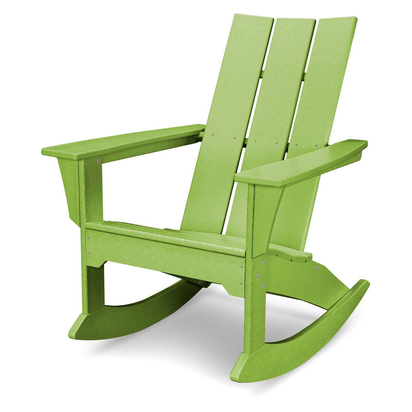 Outdoor Polywooda Modern Recycled Plastic Adirondack Rocker Lime