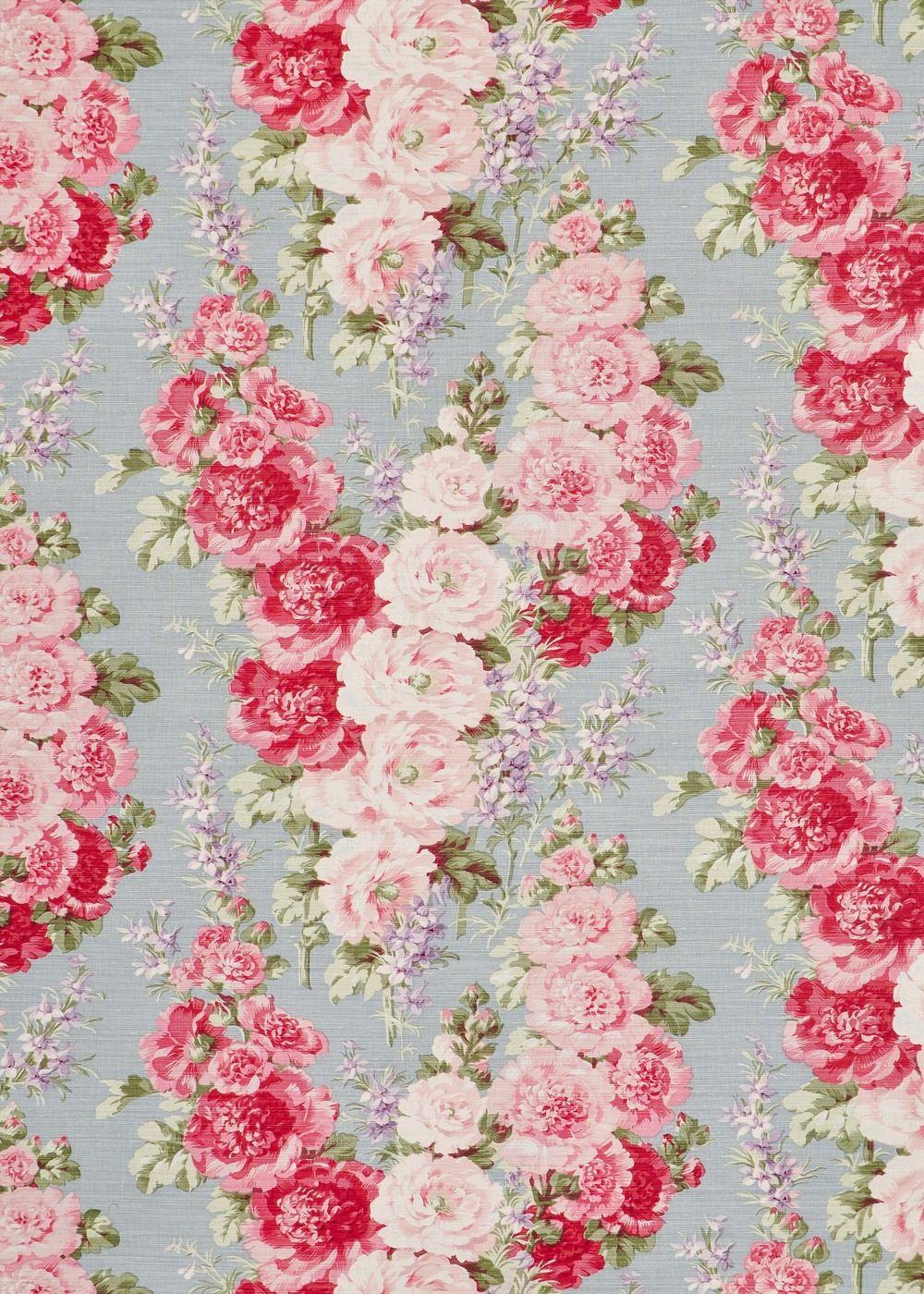 Hollyhock - Blue on Oyster — Bennison Fabrics