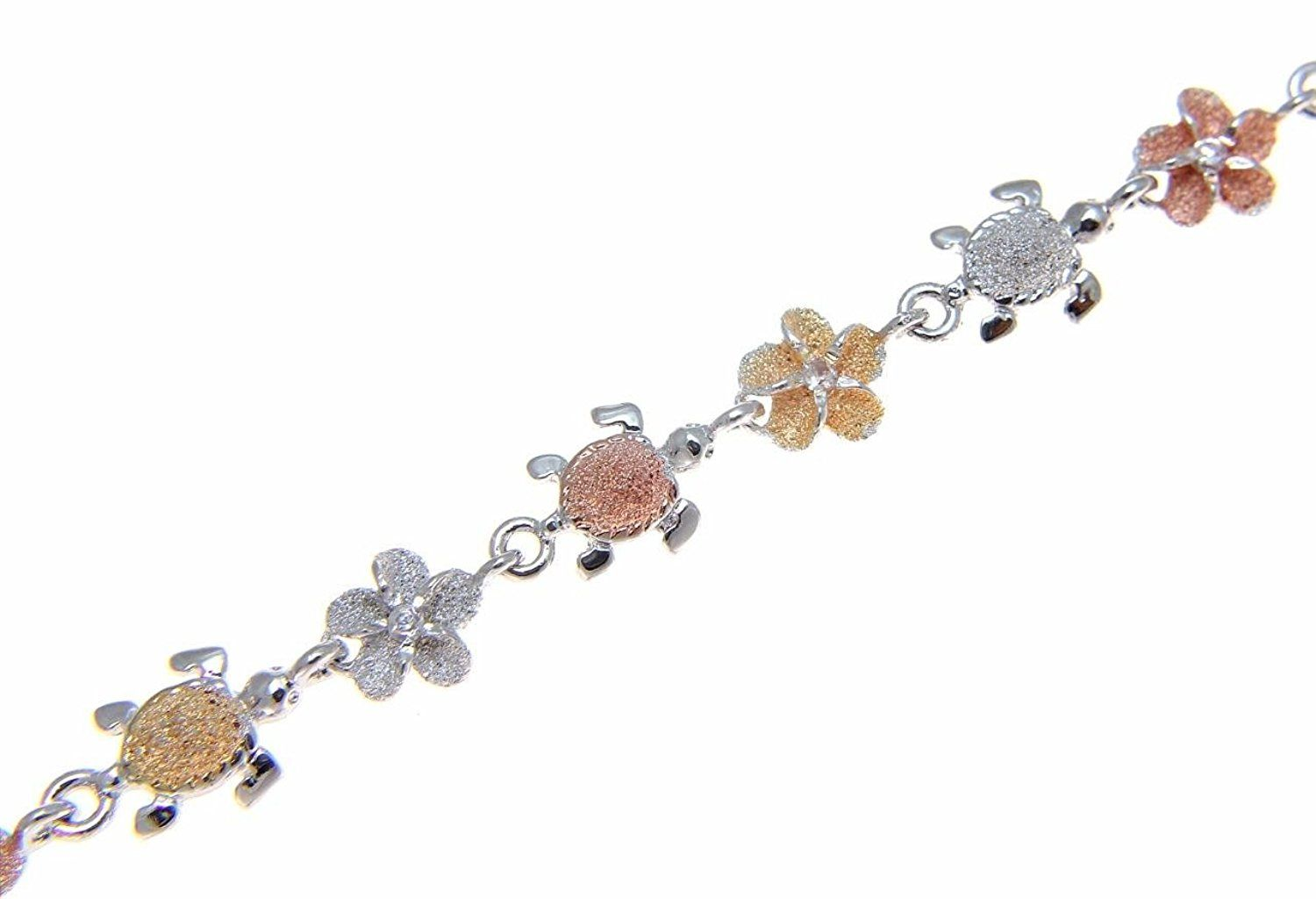 sea pin plumeria silver flower turtle hawaiian tricolor anklet