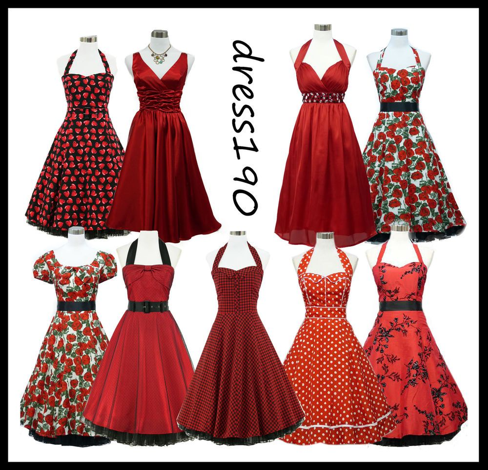 dress190 Red 50s Rockabilly Vintage Pinup Party Prom Cocktail Dress ...