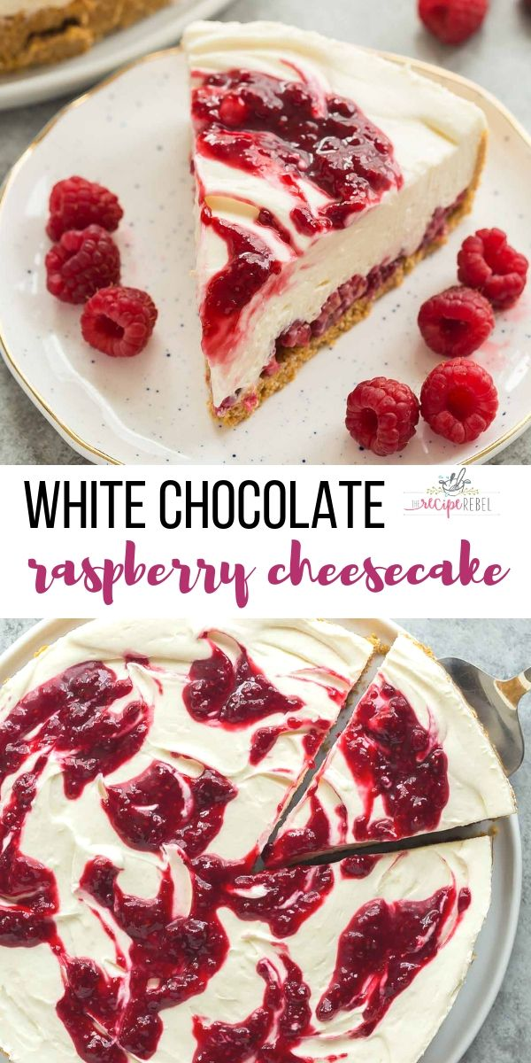 This White Chocolate Raspberry Cheesecake is an easy no bake cheesecake recipe for summer! It is SO smooth and creamy and you don't ever have to turn on the oven  It's the perfect no bake dessert  is part of Chocolate raspberry cheesecake -