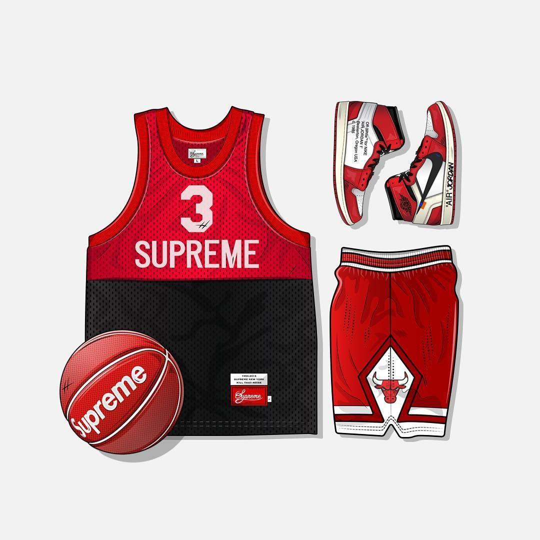 2e648f2efa1 Baller Outfit Grid ⛹ ___ Supreme Basketball Jersey, Supreme Basketball,  Jordan OFF WHITE 1s & Chicago Bulls Shorts.