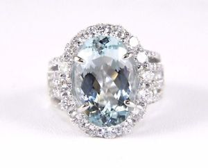 Fine Oval Cut Aquamarine Ring w/Diamond Halo & Accents 18k White Gold 8.06Ct