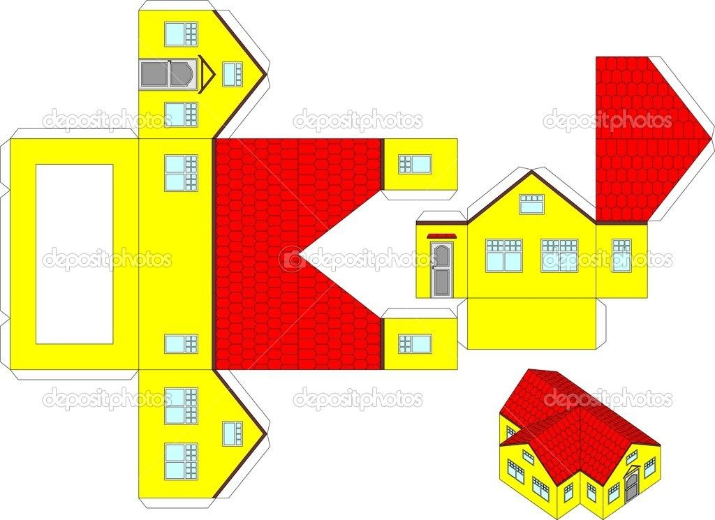 Printable 3d Paper Craft Of A House Stock Vector C Kvartur 21122417 Paper House Template Paper Doll House 3d Paper Crafts