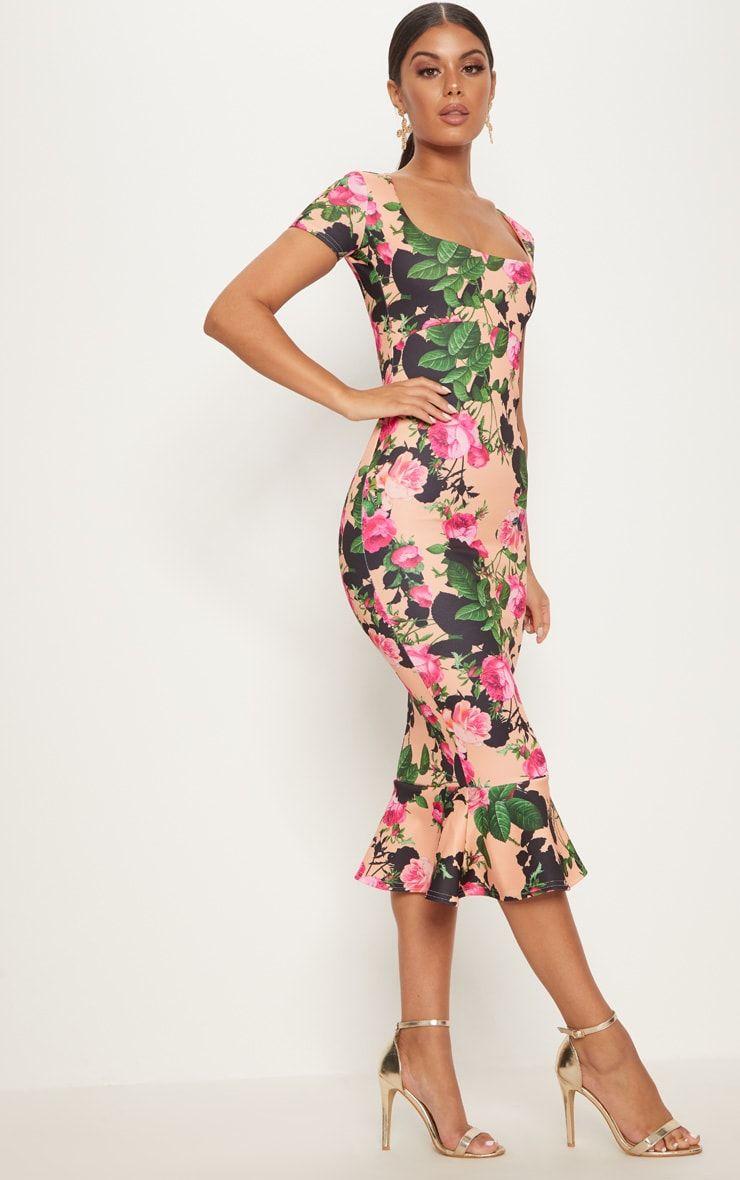 ff5c305df268 Tangerine Floral Square Neck Frill Hem Midi Dress in 2018 | Formal Dresses  | Pinterest | Dresses, Floral and Formal dresses