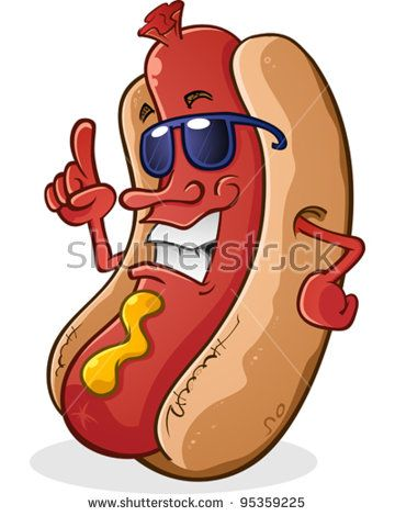 Hot Dog Cartoon Character Wearing Sunglasses With Attitude With
