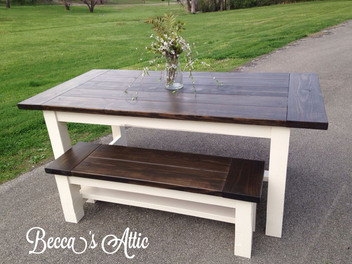 Farmhouse Table And Bench. Antique White Base With Espresso Stain Top