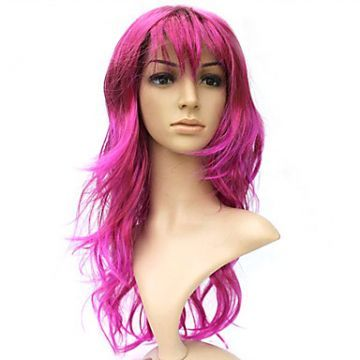 100% Kasi Fiber Capless Long Pink Curly Costume Party Wig ( lavagirl )