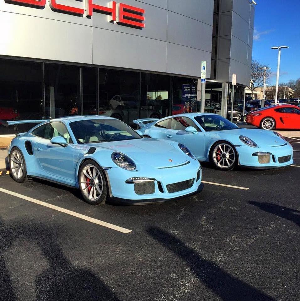 Double Gulf Blue Porsche 991 Gt3 And Gt3 Rs Porsche Gt Porsche Sports Car Porsche Cars