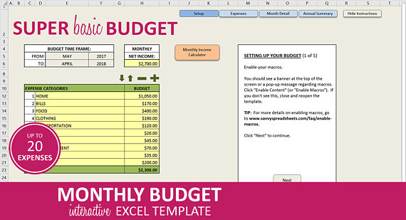Monthly Budget Planner Excel Budget Template Budget Spreadsheet - budgeting in excel spreadsheet