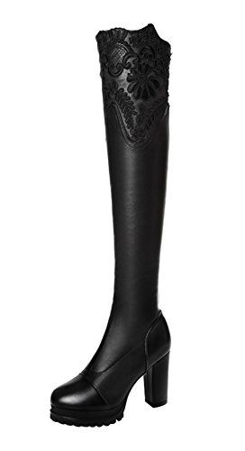 TMates Womens Warm Faux Fur Elegant Lace PullOns Chunky Heel Platform Over the Knee Long Boots 8 BMUSBlack ** Details can be found by clicking on the image.