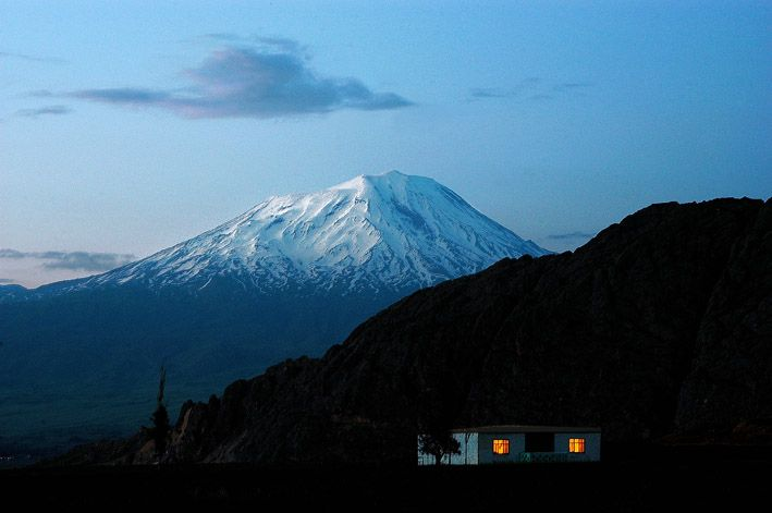 Mount Ararat (Agri in Turkist) at dusk, is Turkey's highest