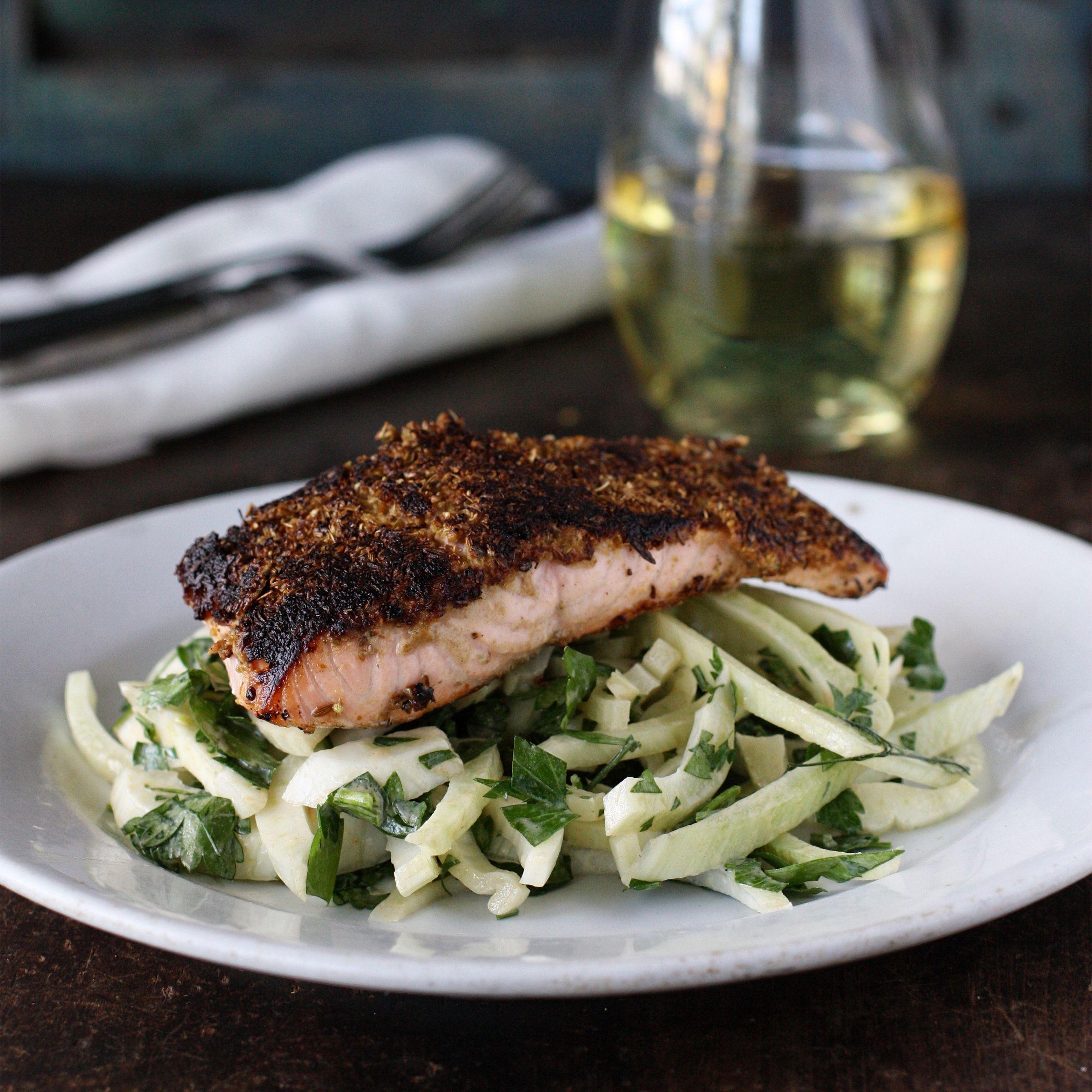 Cuminfennel rubbed salmon with fennelparsley salad