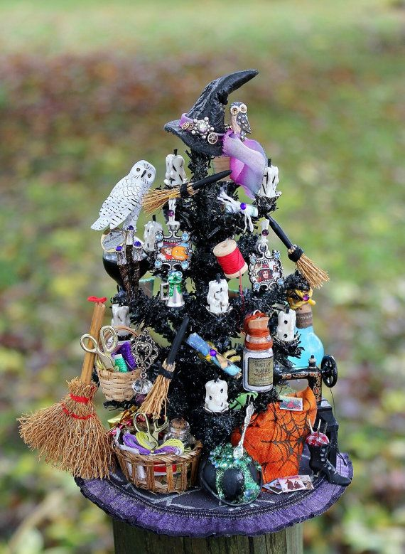 Dollhouse Miniature Sewing Witch Halloween by