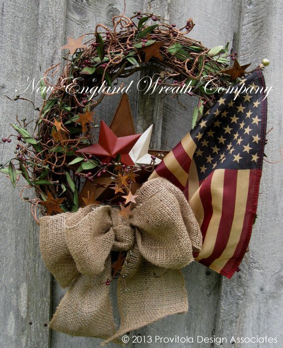 Americana Wreath, Patriotic, Fourth of July Wreath, Tea Stained Flag