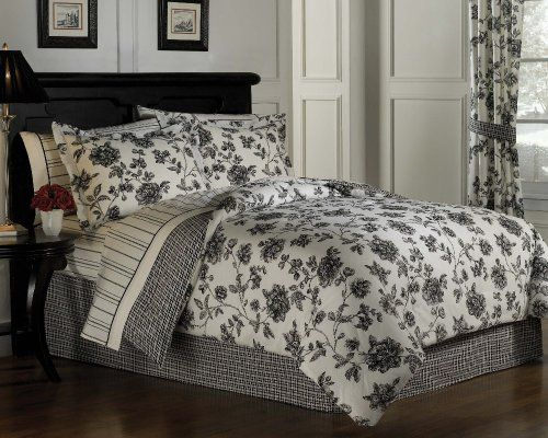 Toile King Bedding: Romantic Black And Off-White Toile Floral Cotton Bed In A