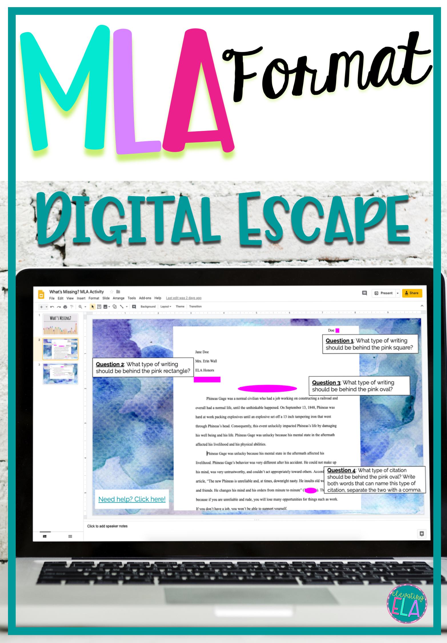 mla format digital activity