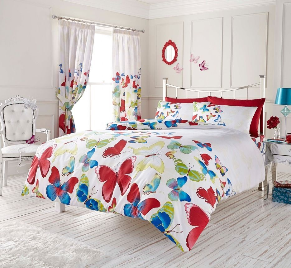 Red White Blue Butterfly Girls Bedding Twin Full Queen