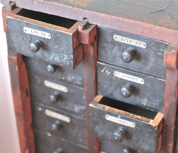 Antique Hardware Store Cabinet Multi Drawer Wood by ivorybird, $310.00 - Reserved For AC Antique Hardware Store Cabinet Multi Drawer Wood