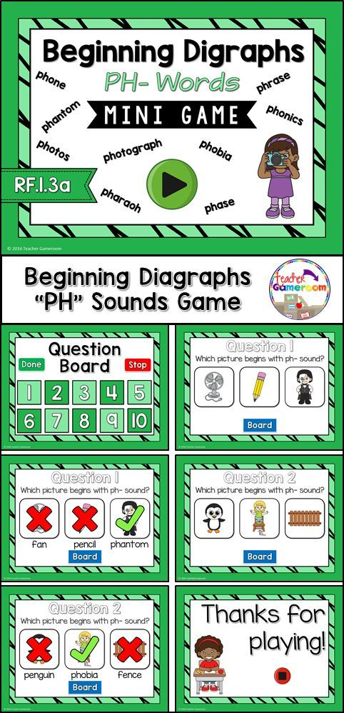 Practice Spelling Ph Digraphs Words With This Smartboard Game 10 Questions Makes It Great Practice For Small Groups Ela Or Word Work Centers Ccss Aligned