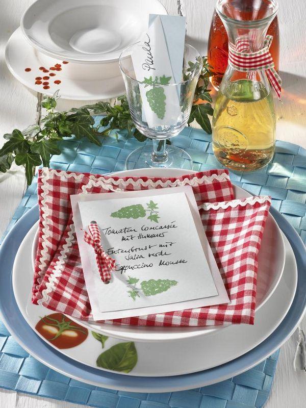 Italienisch Essen Menukarte Und Namensschild Tischdeko Sonja