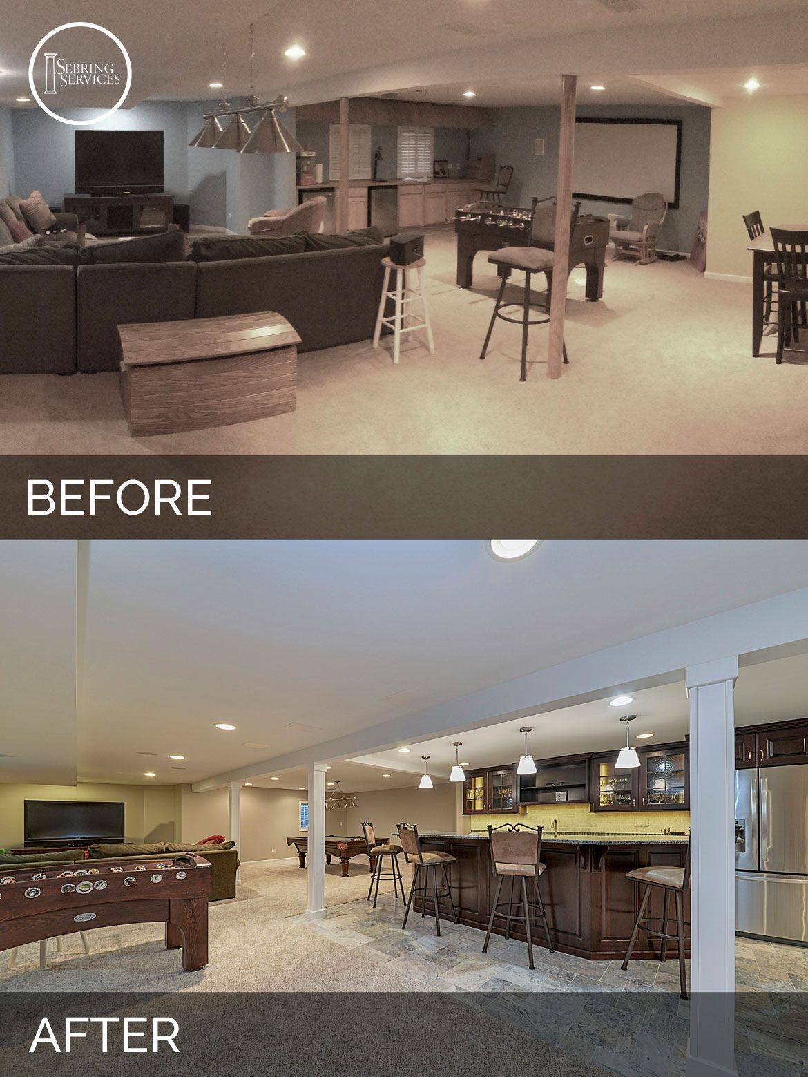 Basement Remodeling Service Ideas Remodelling brett & carolyn's basement before & after pictures | basements