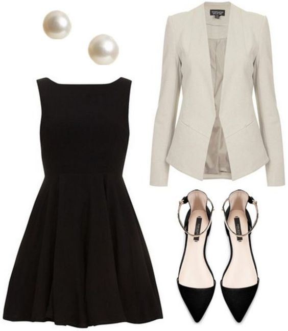 White Coat And Black Dress Simple Pumps And Pretty Pearls Can Never Be Wrong Holiday Style Fashion For The M Professional Outfits Fashion Professional Attire