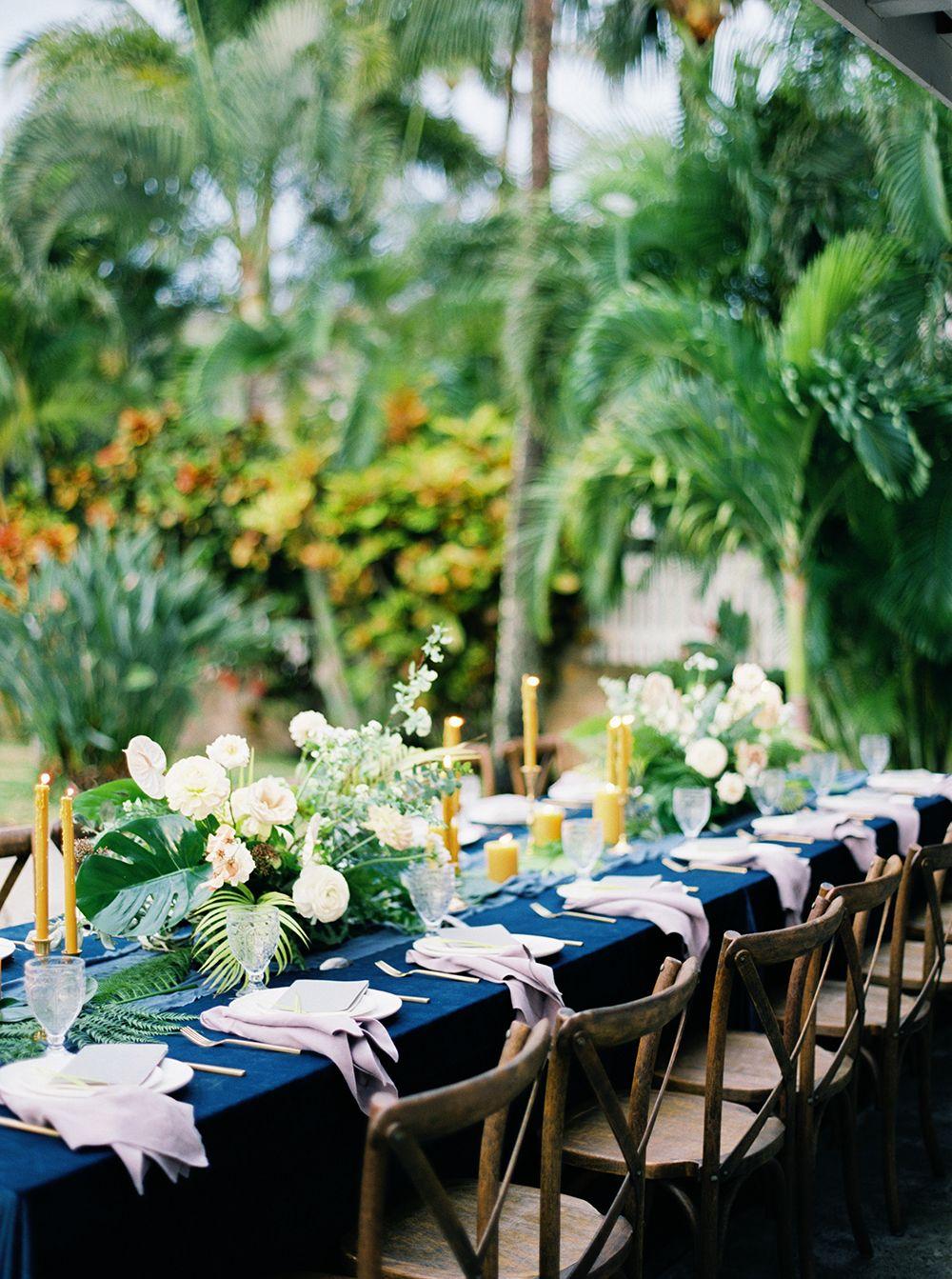 tropical hawaiian wedding editorial with bold blue | blue