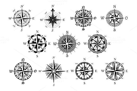 Antique compasses symbols set by seamartini on @creativemarket