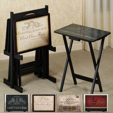 Carry The Vintage Motif Into Your Entertainment E With Stylish Wooden Wine Tv Tray Table Set Black Stand Provides A Handy Storage When Not In