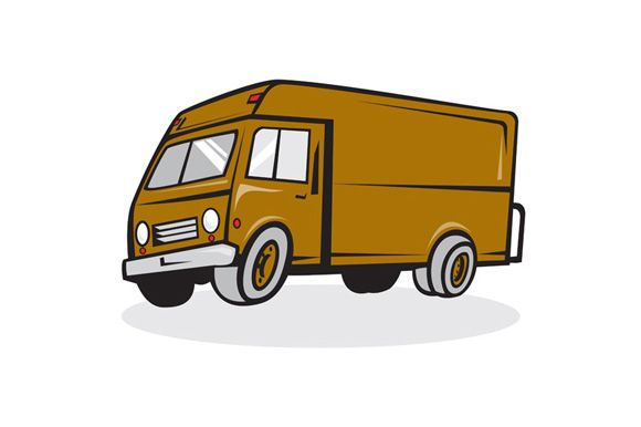 Delivery Van Side Isolated Cartoon Illustration Of A Closed