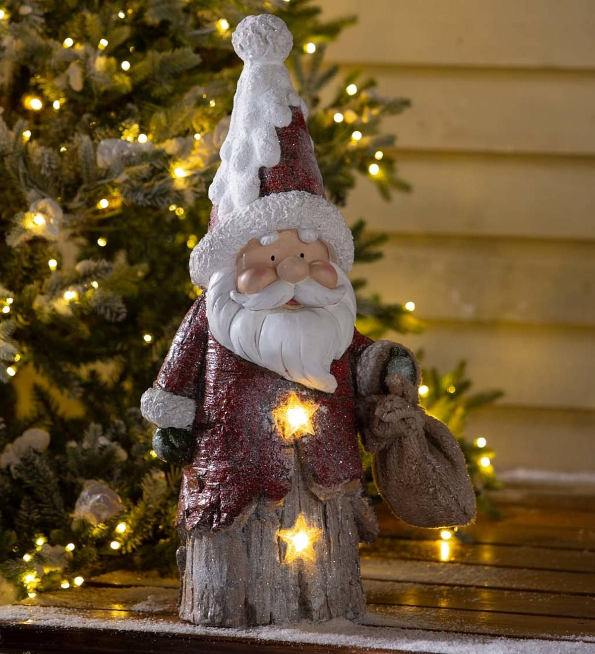 Our Lighted Woodland Santa Statue Has Everything You Need For A Merry Display With The Look Of Carved Wood In 2021 Holiday Lights Outdoor Santa Statues Holiday Lights