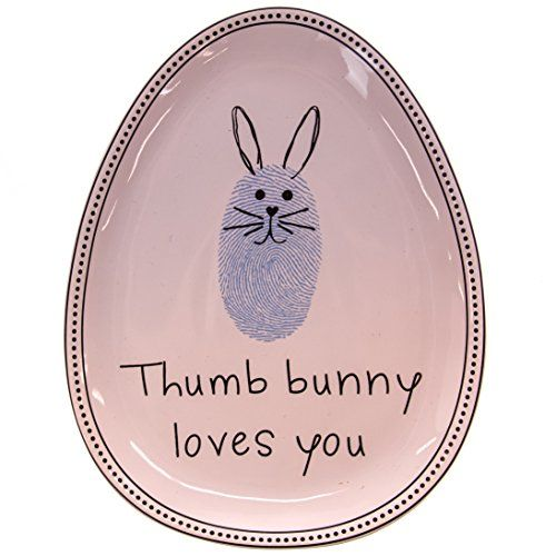 Stoneware Thumbprint Bunny Plate - Blue