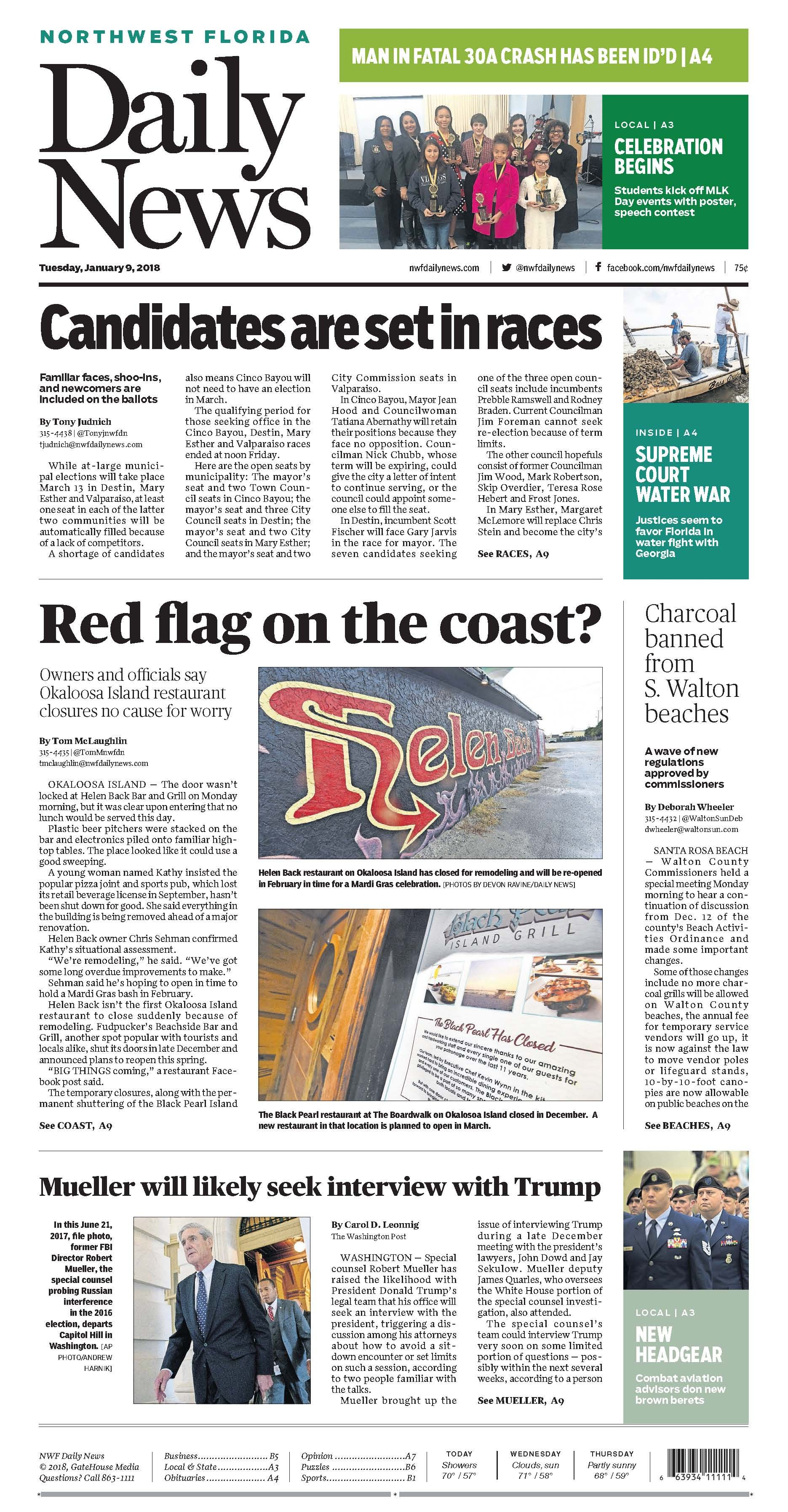 The Jan 9 2018 Cover Of The Northwest Florida Daily News Owners And Officials Say Okaloosa Island Restaurant Closures No Okaloosa Island North West Florida