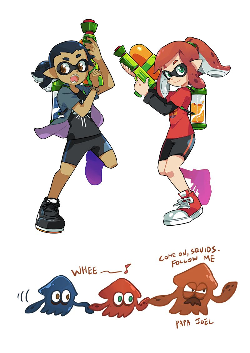 1girl bike_shorts crossover english fangs inkling open_mouth pointy_ears splatoon tentacle_hair the_last_of_us wong_ying_chee