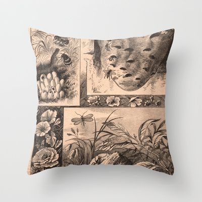The Natural World (Vintage) Throw Pillow by Lyle Hatch - $20.00