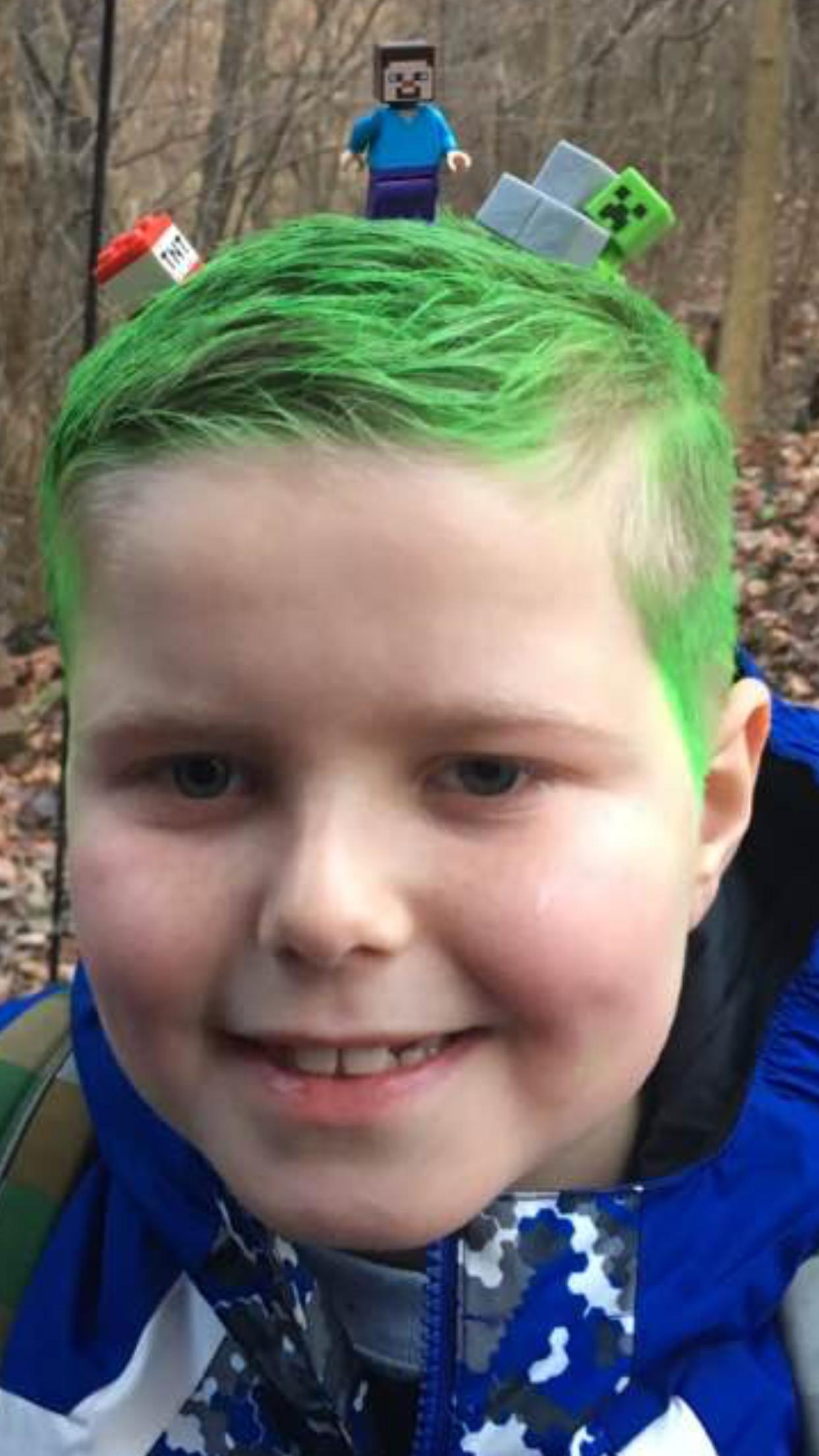 Crazy Hair Day Minecraft Theme Temporary Green Hair Dye Spray Use