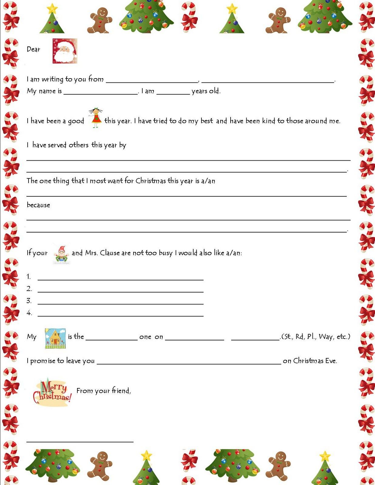 Printable Kids Santa Wish List  Updates Christmas Letters To Santa