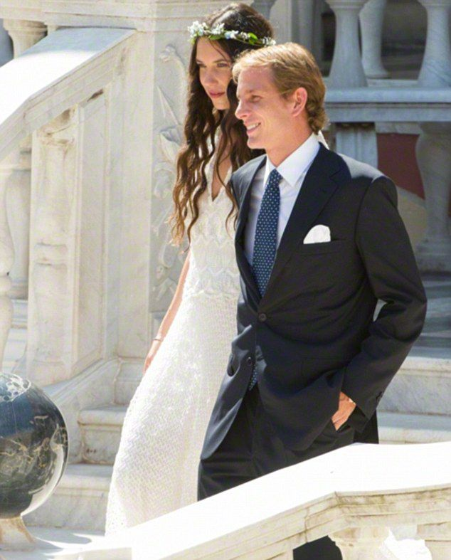 Andrea Casiraghi and Tatiana Santo Domingo - Boho style..The bride wore a Missoni gown with her hair worn loose and a garland of flowers on her head