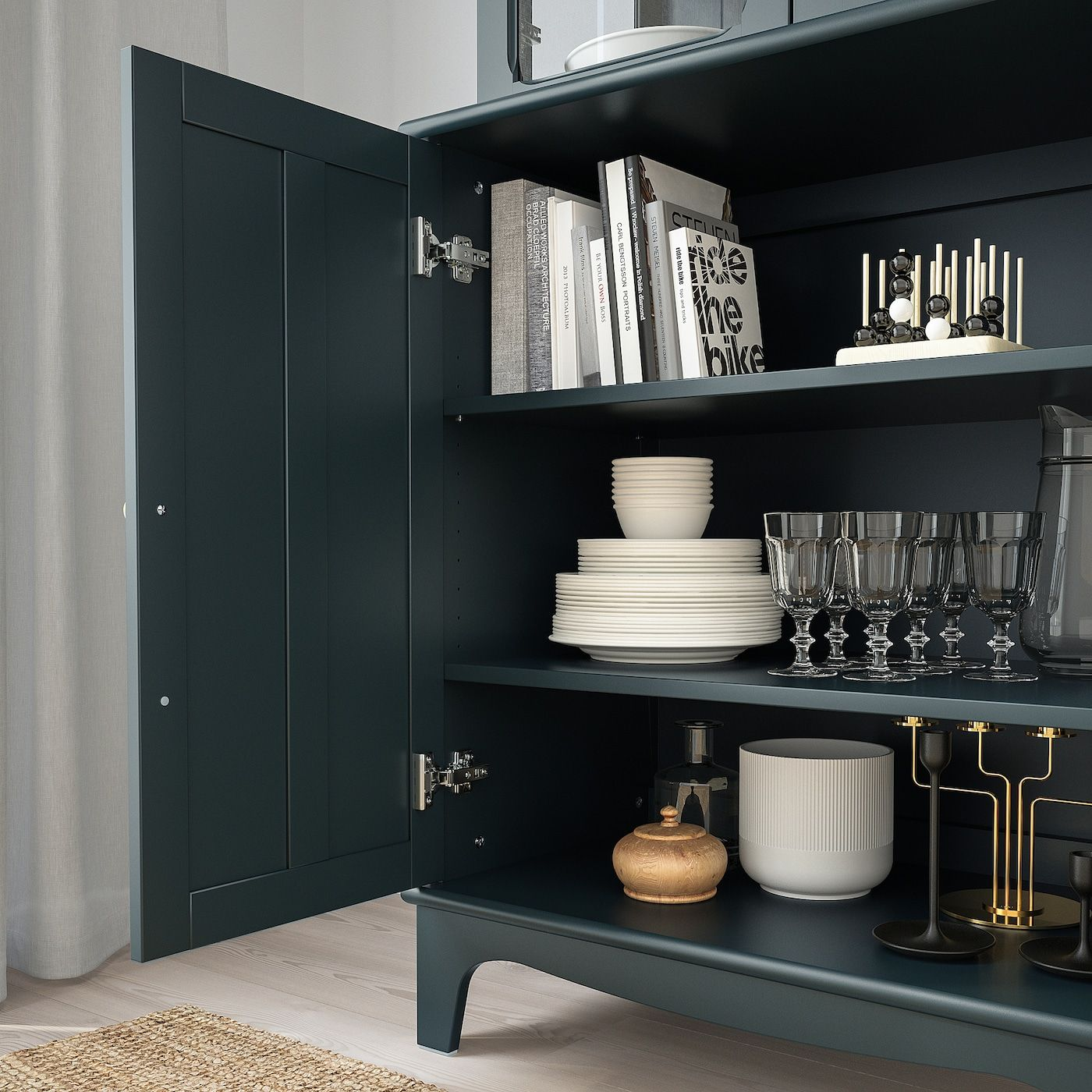 Lommarp Cabinet With Glass Doors Dark Blue Green 337 8x783 8