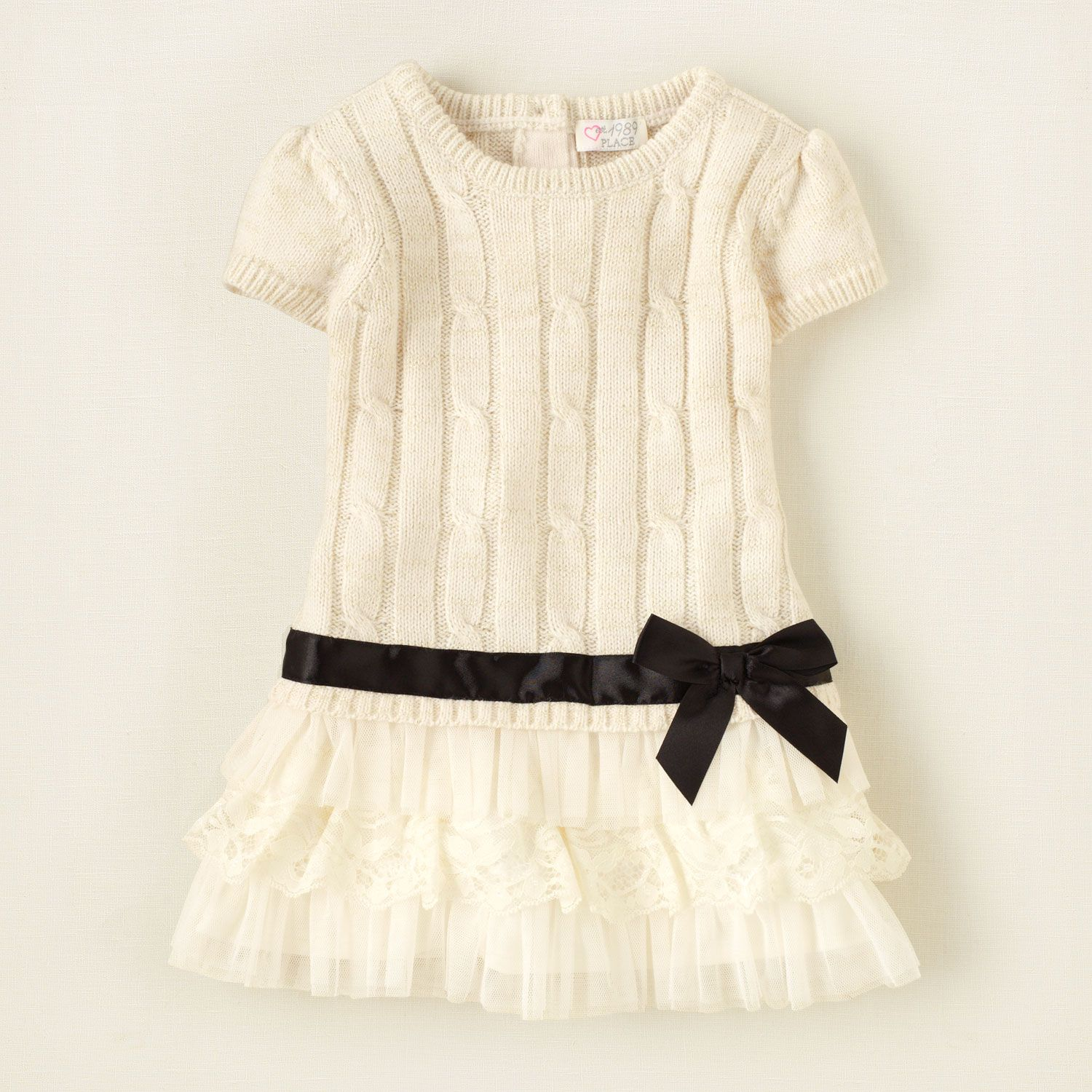 baby girl cable knit tiered sweater dress