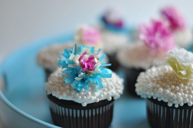 tissue paper flower cupcake toppers